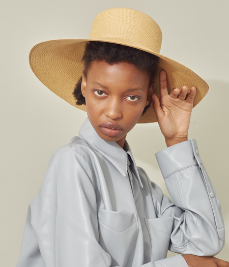 Clyde Pearl Hat - Apricot Panama Straw