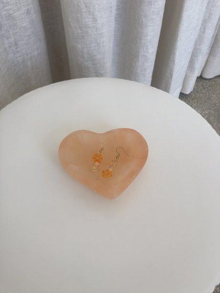 Vintage SELENITE HEART DISH - LIGHT ORANGE
