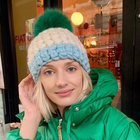 Mischa Lampert  XL pom beanie - kelly green/white/ice deep