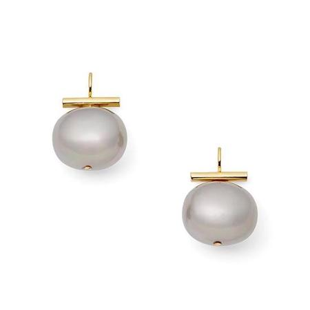 CC & CO by Catherine Canino Large Pebble Pearl Earrings - Slate/Gold
