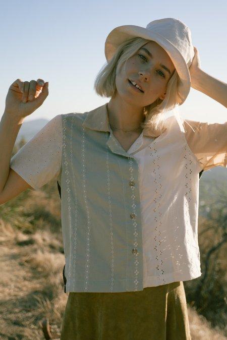 Jess Meany Eyelet Lounge Shirt - Pale Sage
