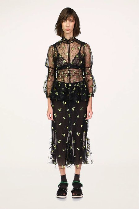 Anna Sui Scattered Blooms Lace Skirt - BLACK MULTI