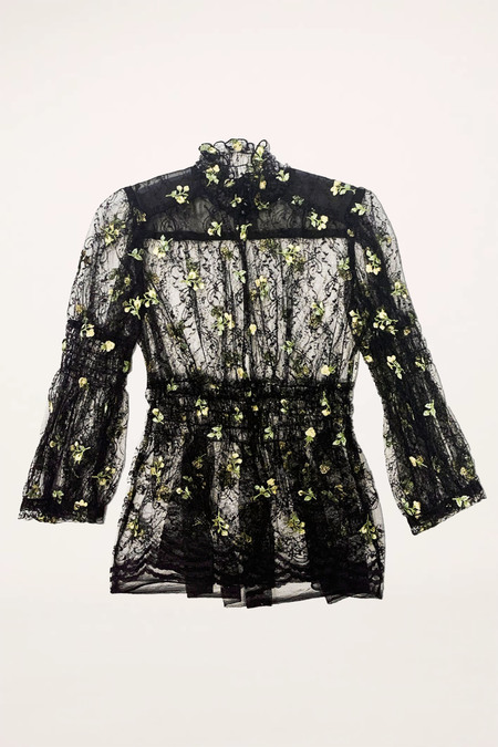 Anna Sui Scattered Blooms Lace Top - Black Multi