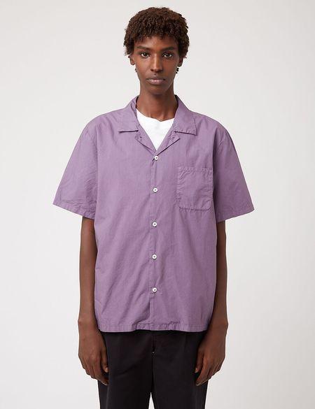 Bhode Revere Collar Italian Poplin Shirt - Space Purple