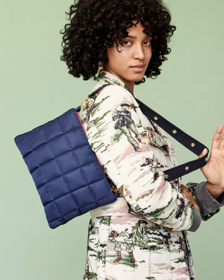 Clare V. Quilted Puffer Clutch - Navy