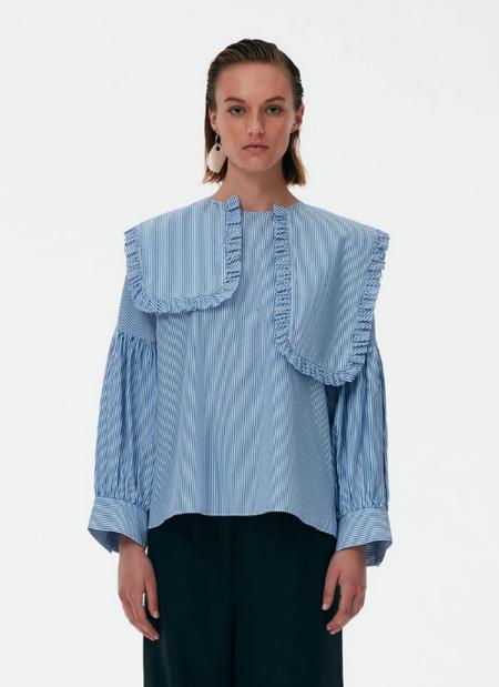 Tibi Removable Collar Striped Top - Blue/White Stripe