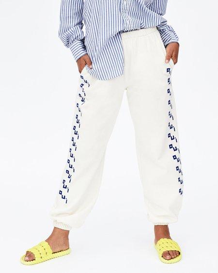 Clare V. Oui Sweatpants - Cream/Cobalt