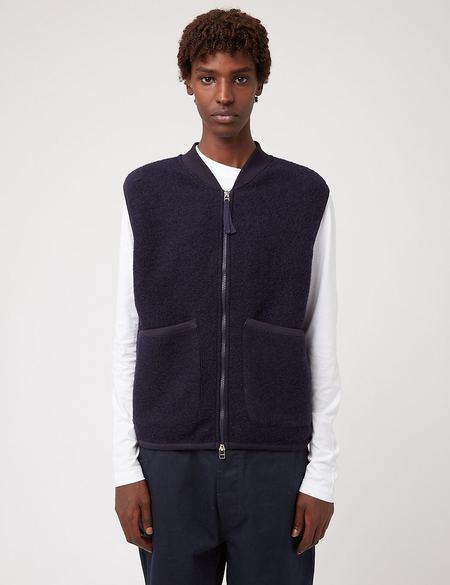 Universal Works Wool Fleece Zip Waistcoat - Blue