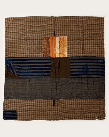 Vintage Japanese Sunrise Plaid Patch Quilt