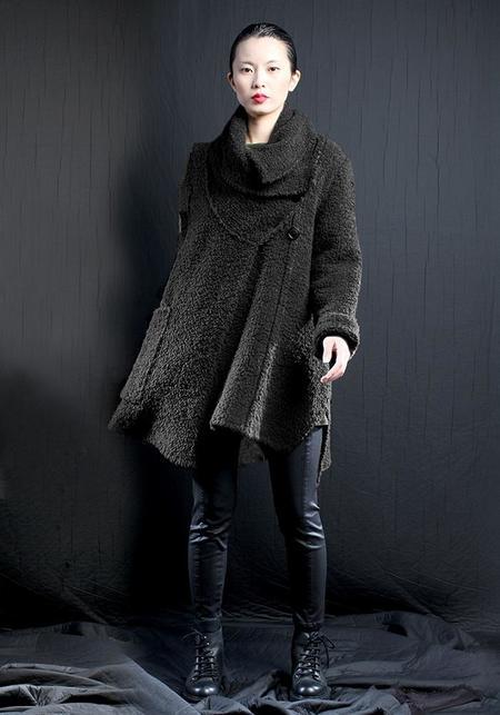 Lurdes Bergada Asymmetric Oversized Bold Shawl Collar Knit Jacket
