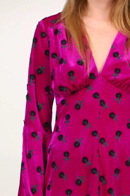 Anna Sui Wonderwall Velvet Dress - Fuschia Multi