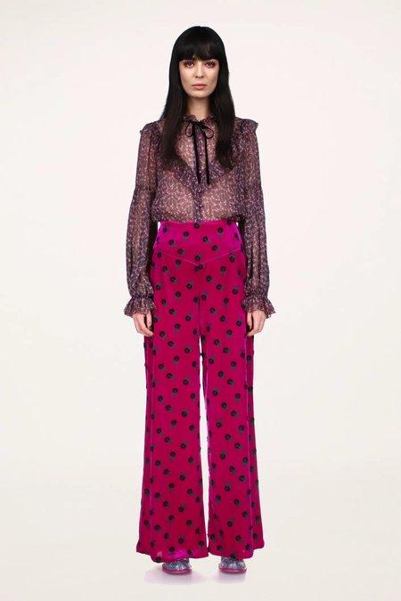 Anna Sui Wonderwall Velvet Pants - Fuschia Multi