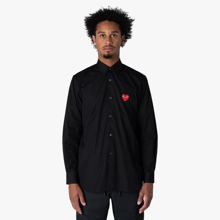 Comme des Garcons Red Heart Button Up Woven Shirt - Black