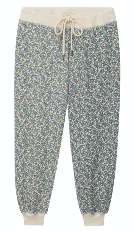 The Great. The Cropped Floral Sweatpants - Cream Field Floral