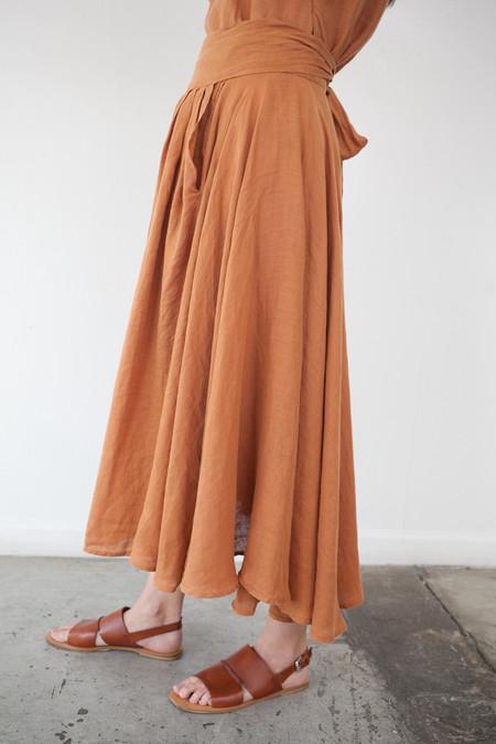 Black Crane Wrap Skirt in Rust