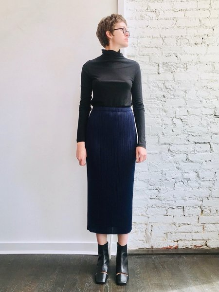 New Colorful Basics Skirt in Navy by Pleats Please