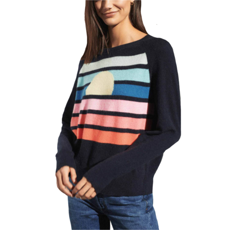 White+Warren Cashmere Horizon Intarsia Sweatshirt - Navy Horizon