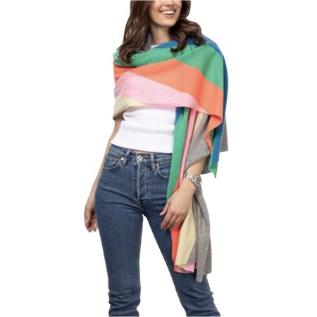 White+Warren Cashmere Rainbow Intarsia Mini Travel - Wrap Grey Heather Rainbow