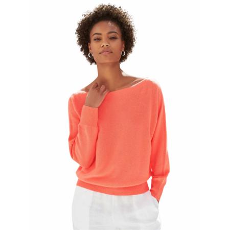 White+Warren Cotton Textured Off the Shoulder Top - Summer Coral