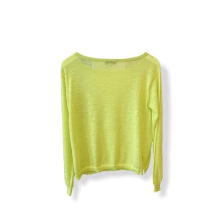 White+Warren Linen Blend Crochet Sleeve Crewneck - Neon Yellow