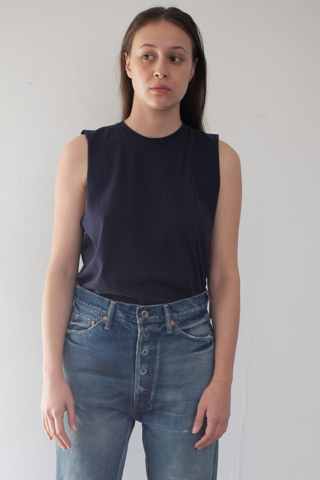 Chimala Cotton Vintage Single Jersey Muscle Tee in Navy