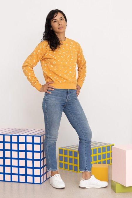 North Of West Max Organic Squiggles Print Sweatshirt - Marigold
