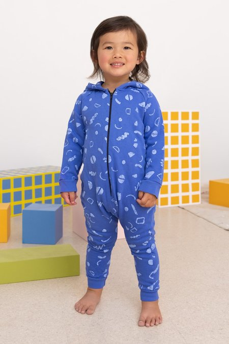 Kids North Of West Squiggles Organic Hooded Romper - Azure
