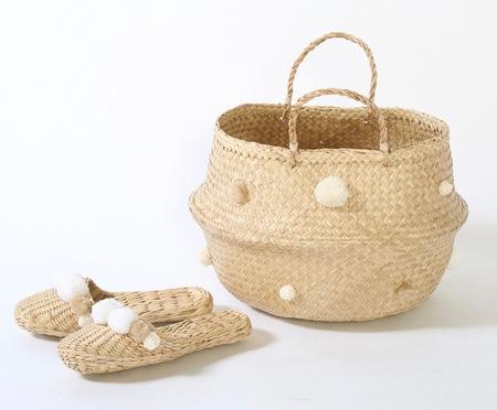 Folk Fortune White & Cream Basket and Slipper Combo