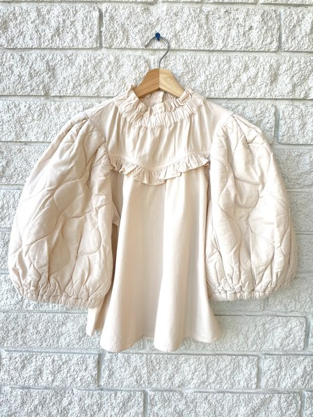 Sea NY Layla Quilted Puff Sleeve Top - Barley