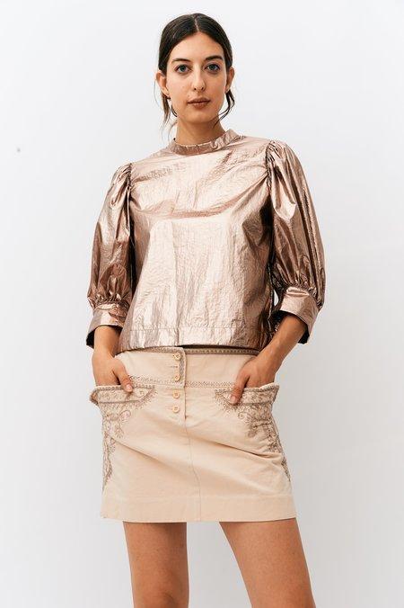 PRE-LOVED Chloé Embroidered Mini Skirt - Beige