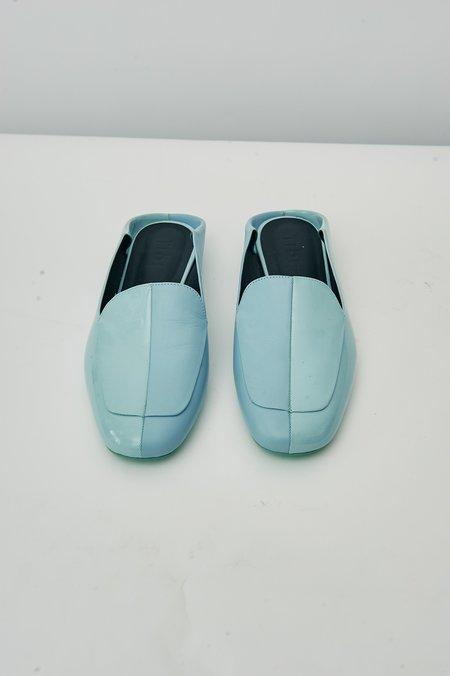 PRE-LOVED Tibi Split Leather Slides - Light Blue