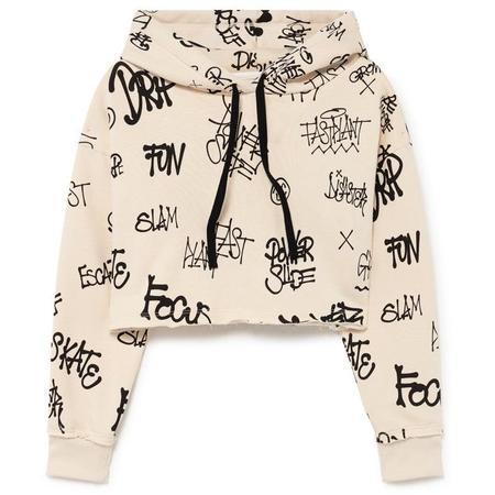 little creative factory hoodie crop top graffiti - natural