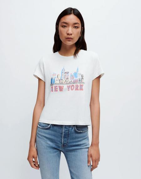 RE/DONE Classic NY Skyline TEE - Vintage White