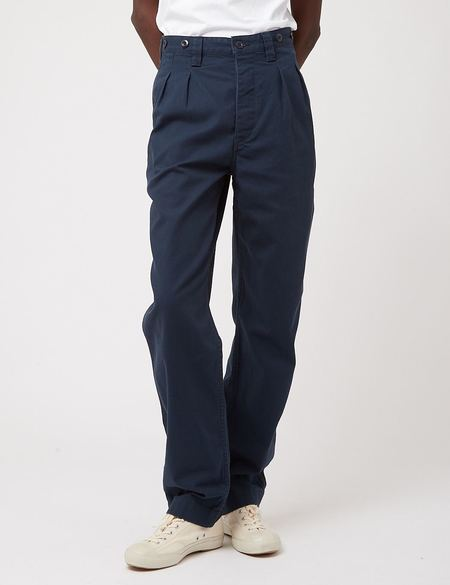 Nigel Cabourn Pleated Chino - Navy Blue