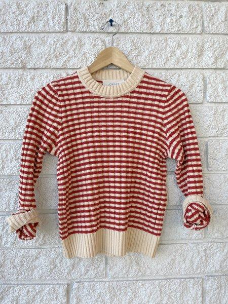 The Great. The Mini Striped Shrunken Pullover - Scarlet Stripe