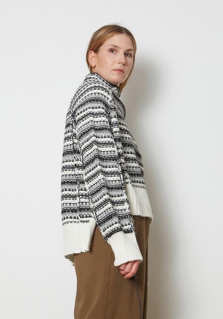 Maison Margiela MM6 Fairisle Reversed High Neck Sweater - Gray