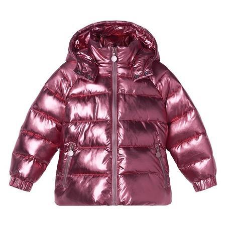 Kids Stella McCartney Metallic Foil Puffer Jacket - Raspberry Pink