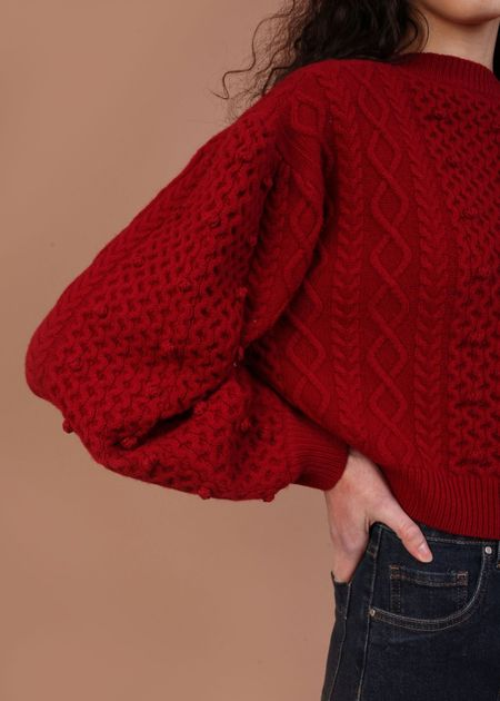 Meadows Bramble Knit Sweater - Red