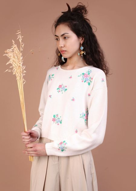 Meadows Floral knit sweater - white