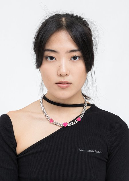 DEPARTMENT Chain And Pink Heart Necklace - Silver