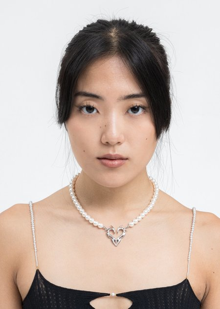 Salad Days Heart And Pearl Necklace - Silver