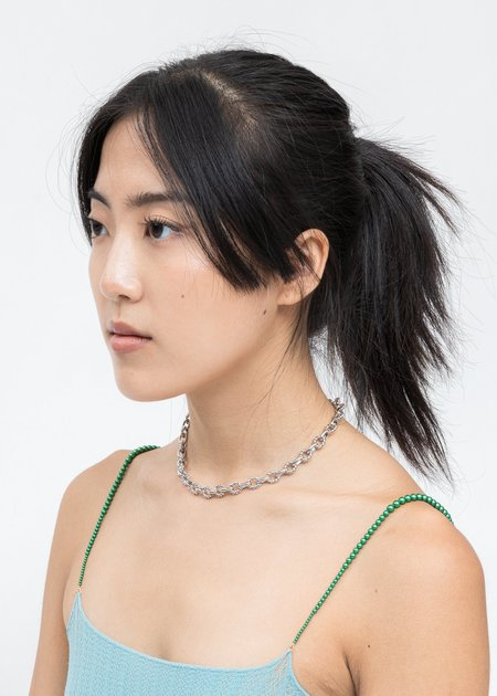 DEPARTMENT Lace Lock Coin Necklace - Silver