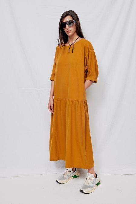 Black Crane Cotton Easy Dress - Gold