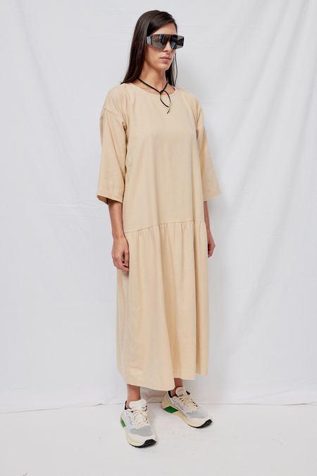 Black Crane Cotton Easy Dress - Natural