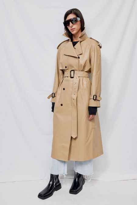 Blossom H Company Faux Leather Trench Coat