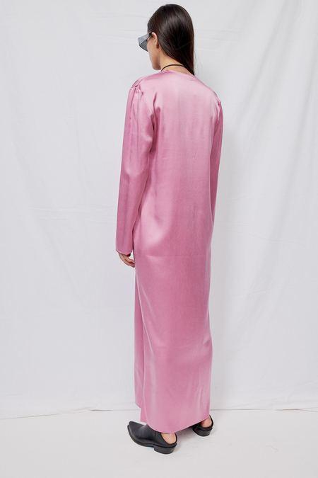 Gabriela Coll Garments NO.125 Heavy Silk Longsleeve Dress - Pink