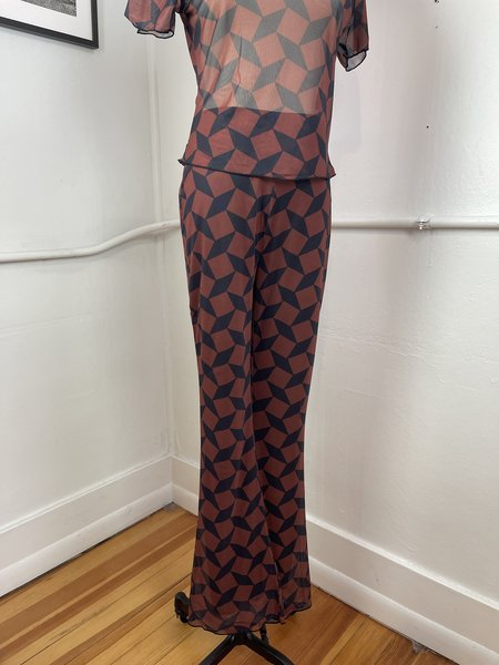 Another Girl Geo Mesh Flares pants - Brown/Black