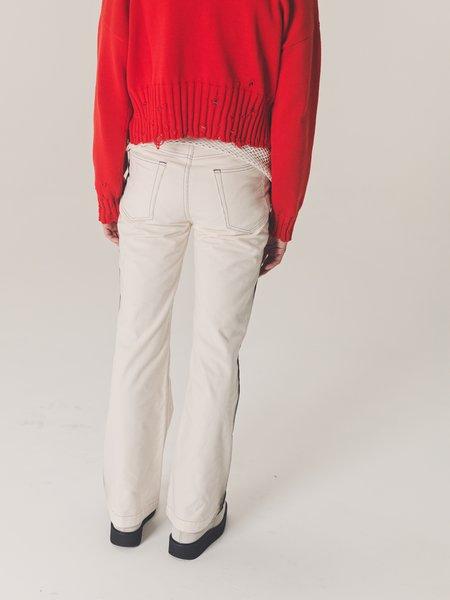 Marni Micro Corduroy Flare Trouser - Black Spray Stripe/White