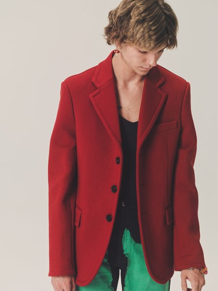 Marni Heavy Cotton Jersey Tailored Blazer Jacket - Burgundy