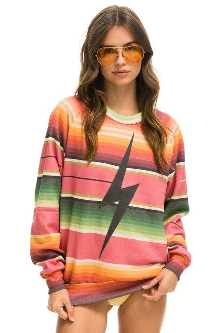 unisex Aviator Nation Serape Bolt Crew Sweatshirt - pink